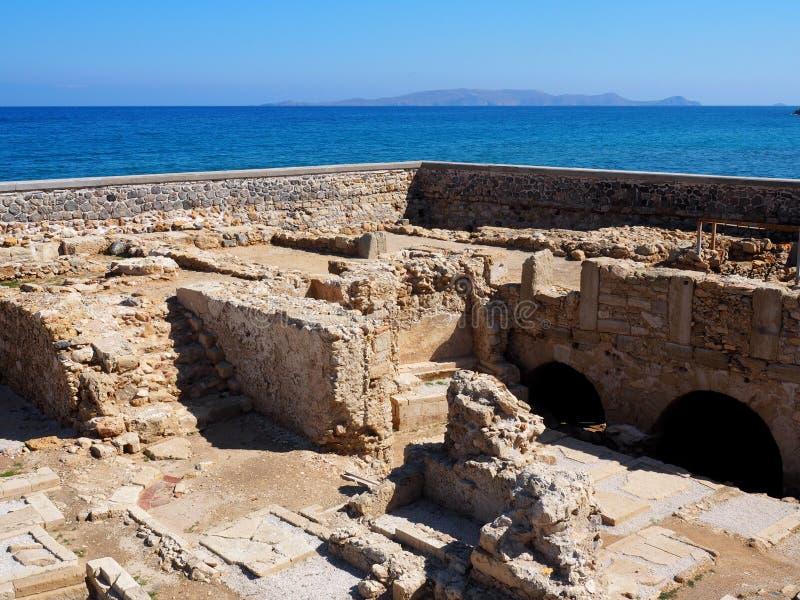 Archeological wykopaliska miejsce W Heraklion Crete zdjęcia royalty free
