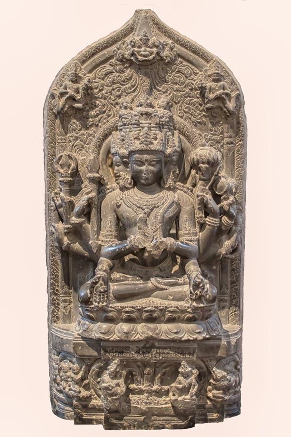 Archeologiczna rzeźba Sadasiva, forma Siva od Indiańskiej mitologii zdjęcie royalty free