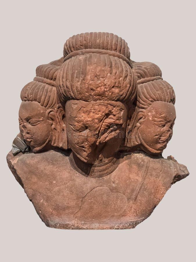 Archeologiczna rzeźby pozycja popiersie Brahma twórca od Indiańskiej mitologii fotografia stock