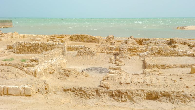 Archeologiczne ekskawacje, Qal «przy Bahrajn zdjęcia stock