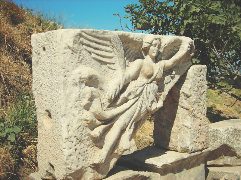 Archeologiczne resztki przy antycznym miejscem Ephesus w Anatolia; retro styl fotografia stock