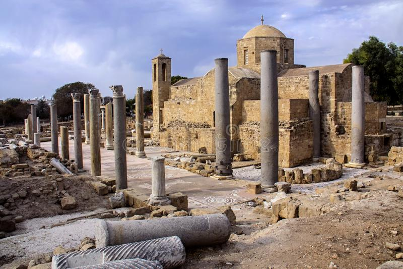 Archeologiczni miejsca Pafos, Cypr fotografia royalty free