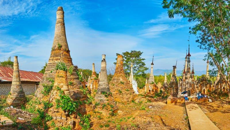Archeologiczny miejsce Nyaung Ohak, Inle jezioro, Myanmar zdjęcia royalty free