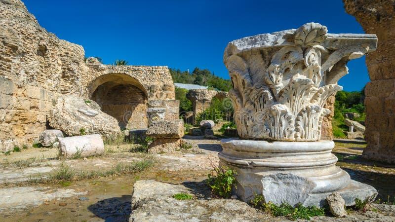 Archeologiczny miejsce - ruiny Carthage przy skąpaniami Antoninus fotografia royalty free