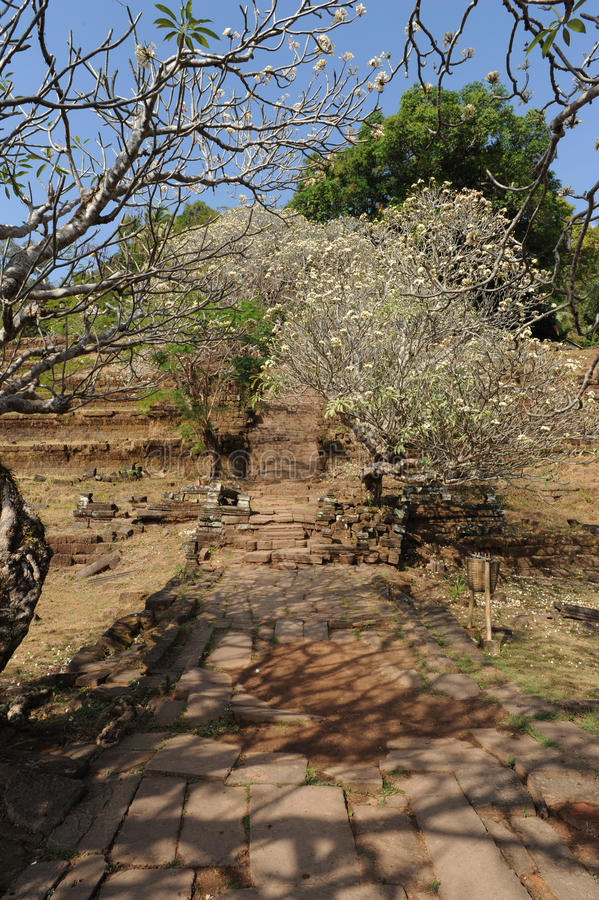 Archeologiczny miejsce Wat Phu blisko Champasak obraz royalty free
