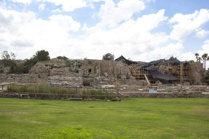 Archeologie in Caesarea stock fotografie