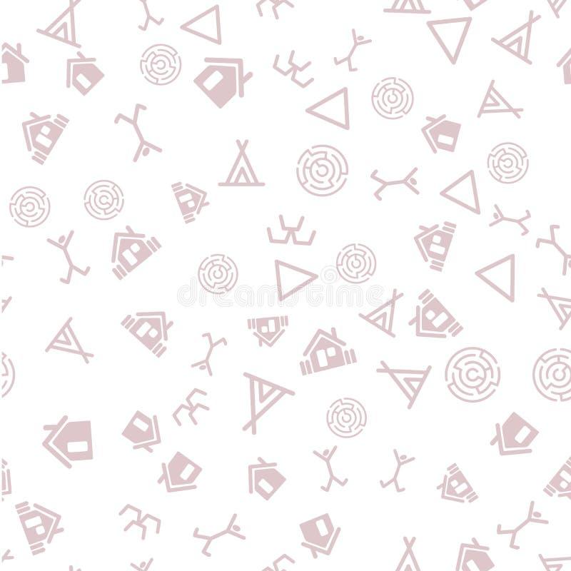 Archeologiepictogrammen in wetenschappelijke aantekening Streamlesspatroon vector illustratie