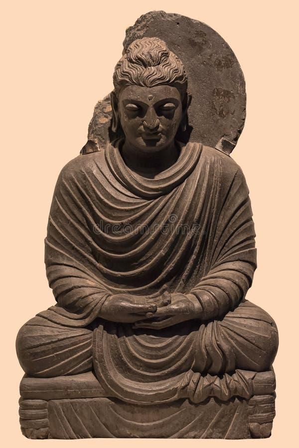 Archeologisch beeldhouwwerk van Boedha in meditatie van Indische mythologie stock foto's