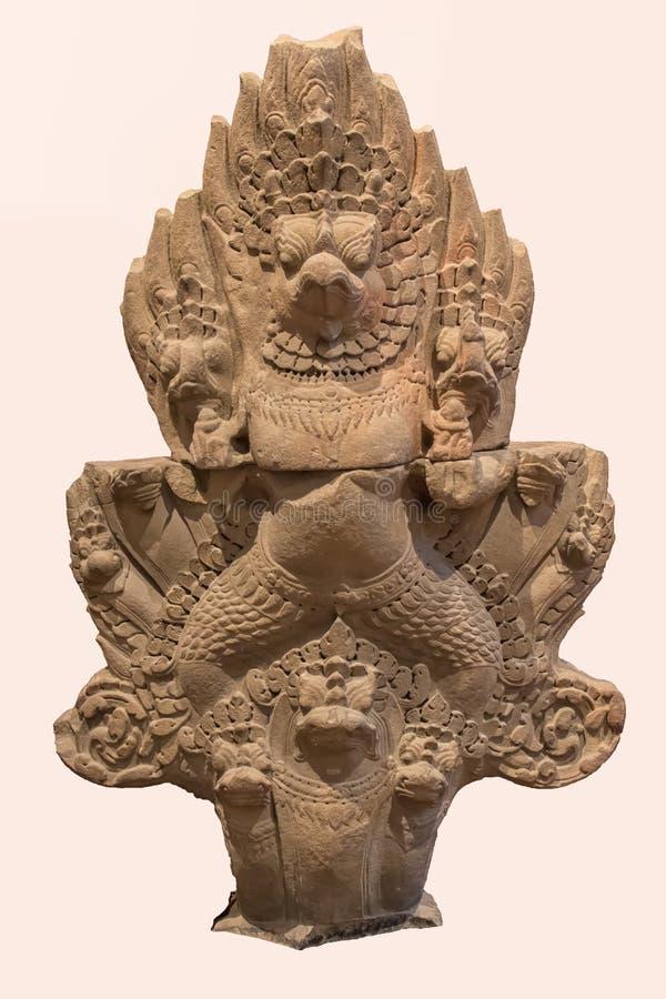 Archeologisch beeldhouwwerk van Garuda, het onderstel van Vishnu van Indische mythologie stock foto
