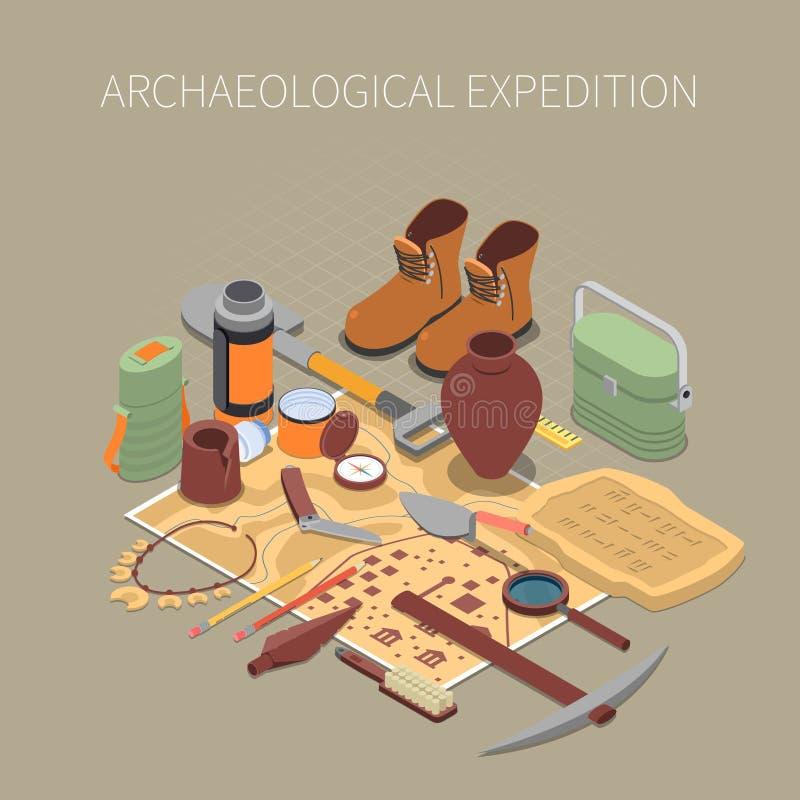 Archeologisch Expeditieconcept royalty-vrije illustratie