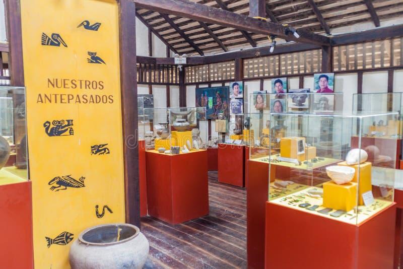 Archeologisch museum in Agua-Blanca dorp, Ecuador royalty-vrije stock afbeeldingen