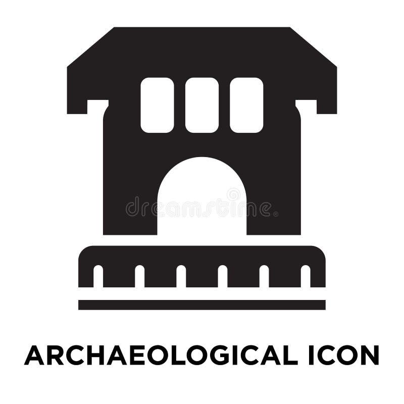 Archeologische die pictogramvector op witte achtergrond, mede embleem wordt geïsoleerd stock illustratie