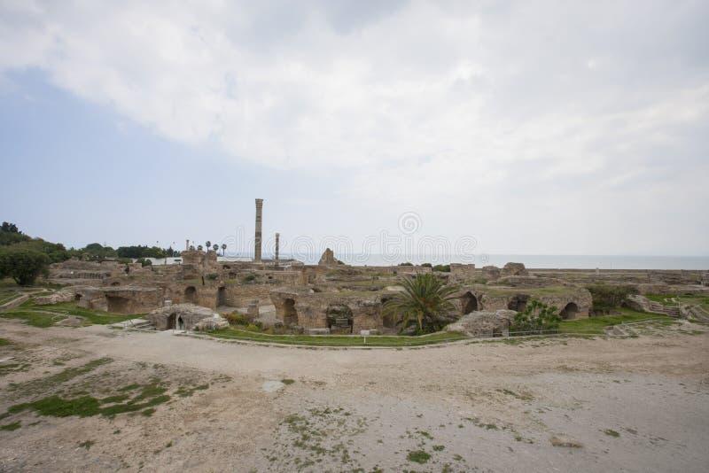 Archeologische plaats van Carthago, Antonine Thermae, Tunis, Tunesië stock fotografie