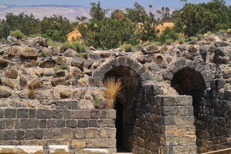 Archeologische Ruïnes van Beit She ` gelegen in Israël royalty-vrije stock foto's