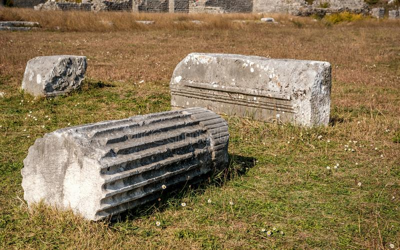 Archeologische site van Roman en Byzantine, Duklja genaamd, bij Podgorica, Montenegro royalty-vrije stock fotografie