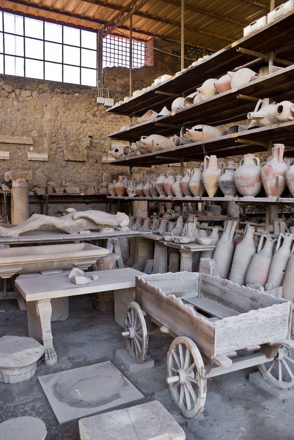 Archeologische uitgravingen van Pompei, Italië stock fotografie