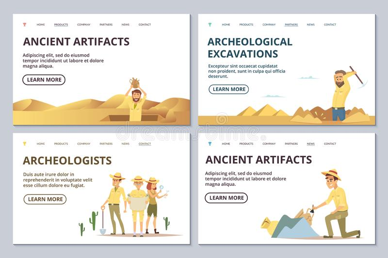 Archeologists landing page templates. Cartoon archaeologists explore antiquities vector illustration vector illustration