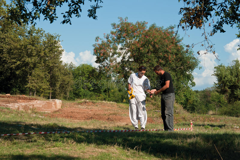 Archeologists working in Lorun complex royalty free stock photo