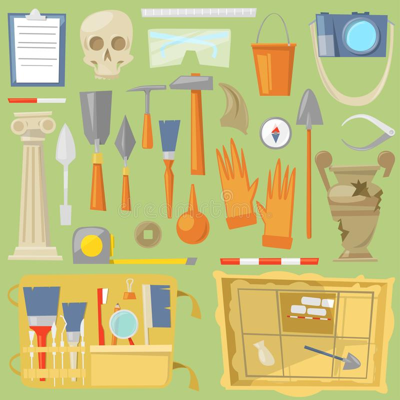 Archeology archaeological finds and tools or equipment and elements of ancient history finding by archaeologists. Illustration archaeology set isolated on vector illustration