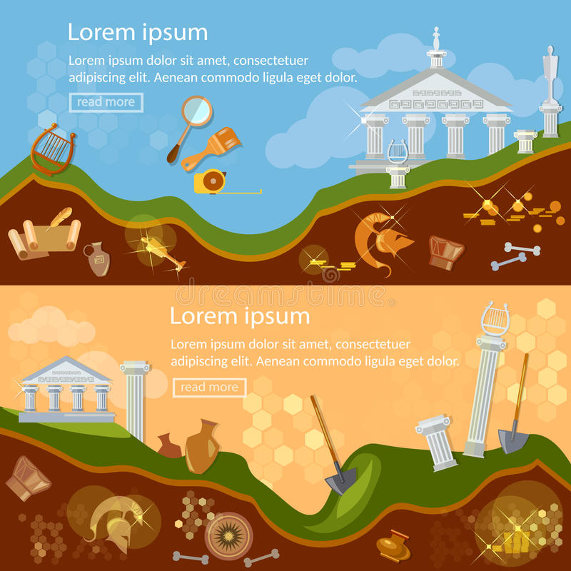 Archeology banner treasure hunters archaeological excavations vector illustration
