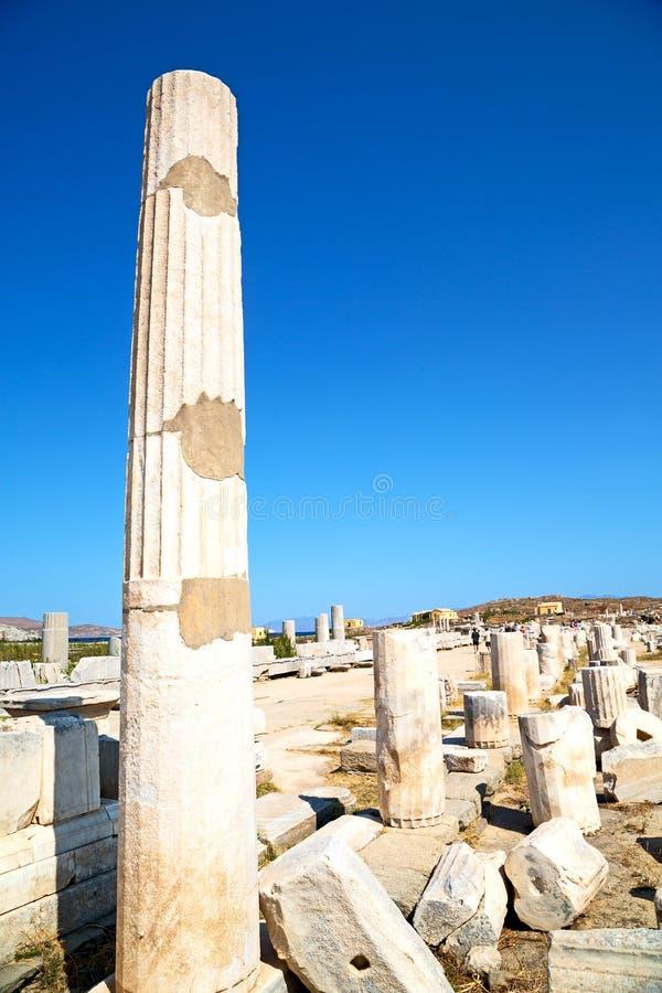 Archeology in delos greece acropolis ruin site. In delos greece the historycal acropolis and old ruin site royalty free stock photos
