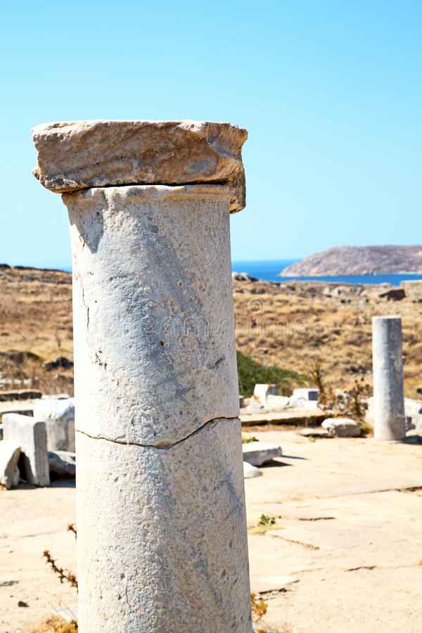 Archeology in delos greece historycal old ruin site. In delos greece the historycal acropolis and old ruin site royalty free stock photo