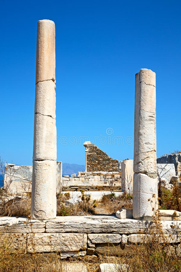Archeology in delos greece the old ruin site. In delos greece the historycal acropolis and old ruin site stock image