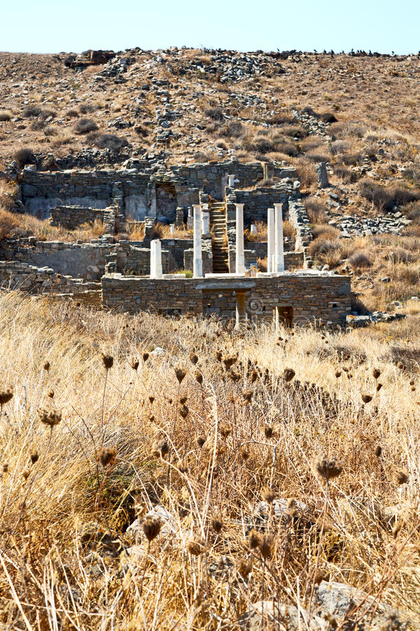 Archeology in delos historycal acropolis and old. In delos greece the historycal acropolis and old ruin site royalty free stock photo