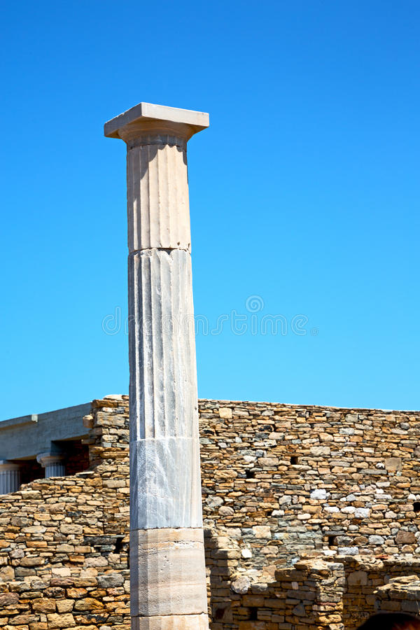 Archeology in delos the and old ruin site. In delos greece the historycal acropolis and old ruin site royalty free stock photography
