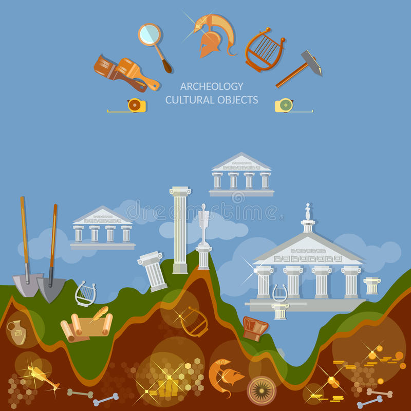 Archeology dig ancient treasures civilization cultural objects. Search for lost artifacts tools for excavations vector illustration