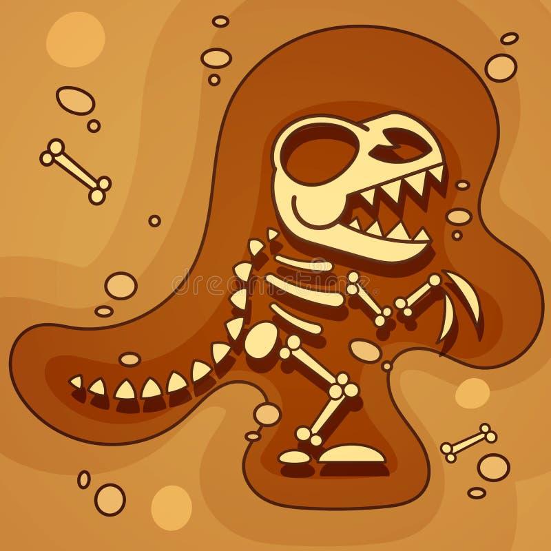 Archeology. Dinosaur Skeleton In Ground. Excavations Of Dinosaur Bones. Archaeological Tools. Vector. Illustration royalty free illustration