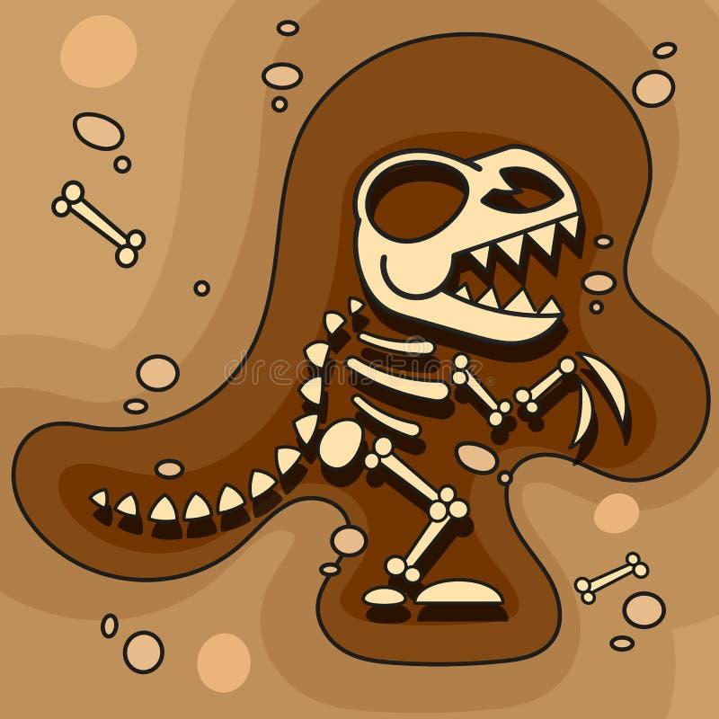 archeology Esqueleto do dinossauro na terra Escavações dos ossos de dinossauro Ferramentas arqueol?gicos Vetor ilustração do vetor