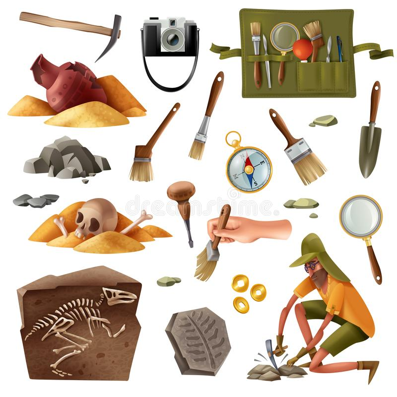 Free Archeology Essential Elements Set Royalty Free Stock Photography - 157213197