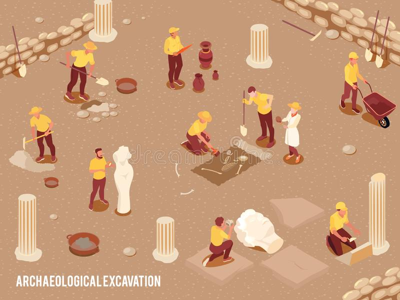 Archeology Isometric Background royalty free illustration