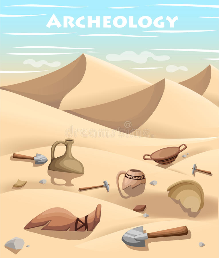 Archeology and paleontology concept archaeological excavation Web site page and mobile app design element. ancient history. Achaeologists unearth ancient vector illustration