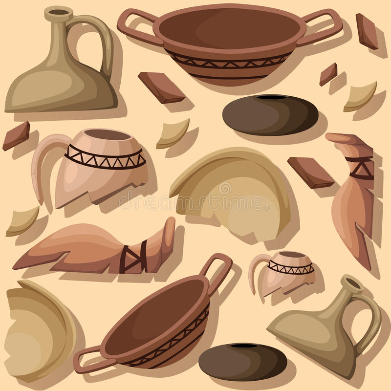 Archeology and paleontology concept archaeological excavation Web site page and mobile app design element. ancient history. Achaeologists unearth ancient stock illustration