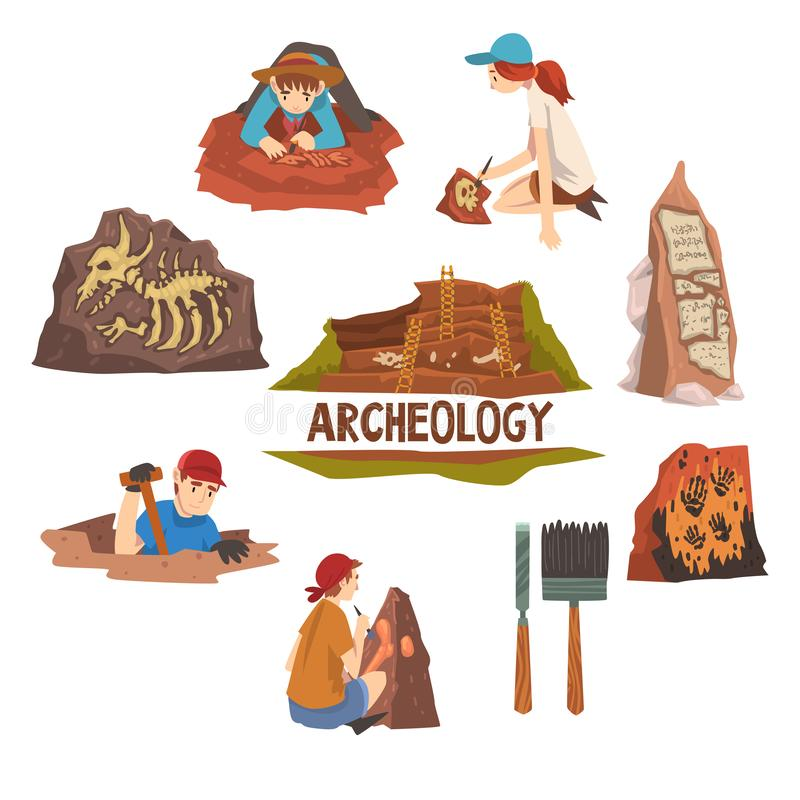 Archeology and Paleontology Set, Scientist Working on Excavations, Archaeological Artifacts and Tools Vector. Illustration on White Background royalty free illustration