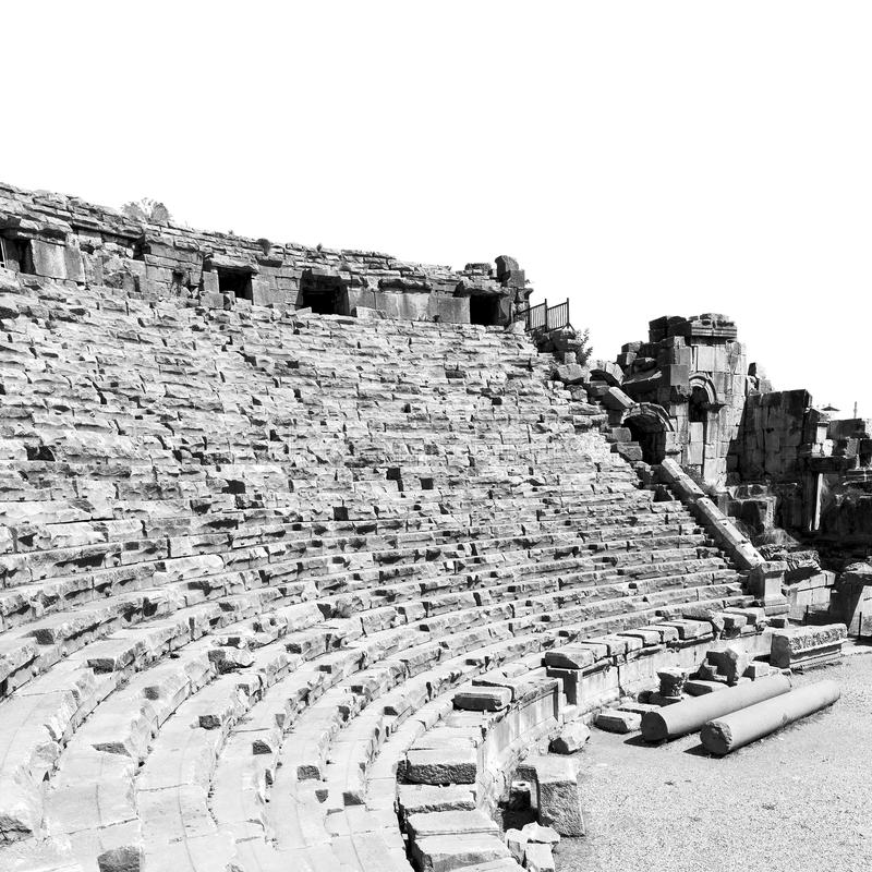 Archeology theater in myra turkey europe old roman necropolis. Myra in turkey europe old roman necropolis and indigenous tomb stone royalty free stock photography