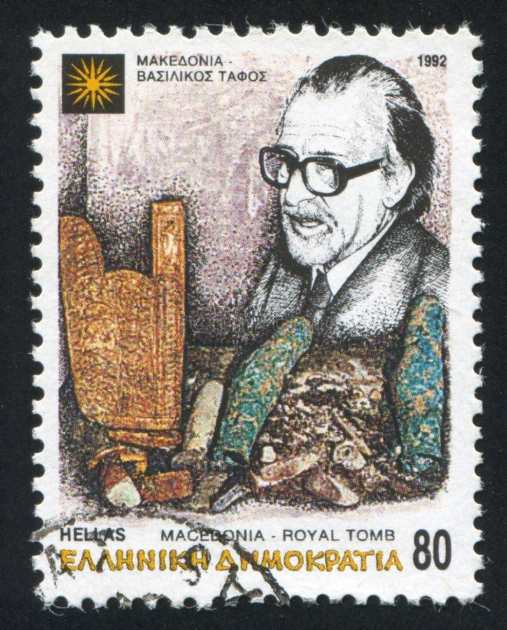 Archeoloog Manolis Andronikos royalty-vrije stock afbeeldingen