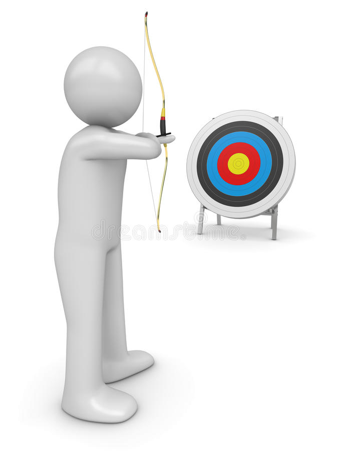 Archer aiming target stock image