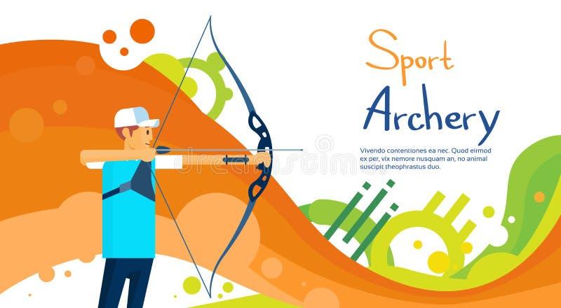Archer atlety sporta rywalizaci Kolorowy sztandar royalty ilustracja