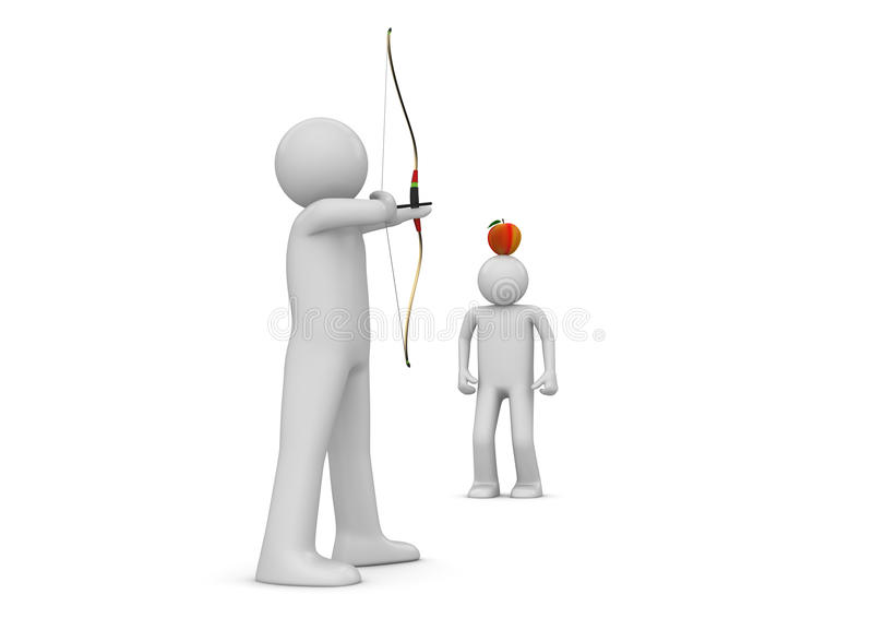 Archer che mira alla mela - sport illustrazione vettoriale
