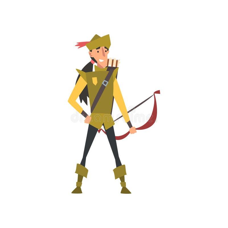Archer com curva, caráter medieval europeu na ilustração tradicional verde do vetor do traje ilustração stock