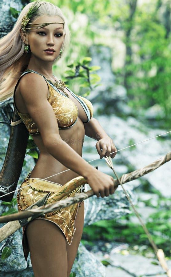 Archer en bois féminin blond d'elfe d'imagination avec la garde de position de tir à l'arc illustration stock