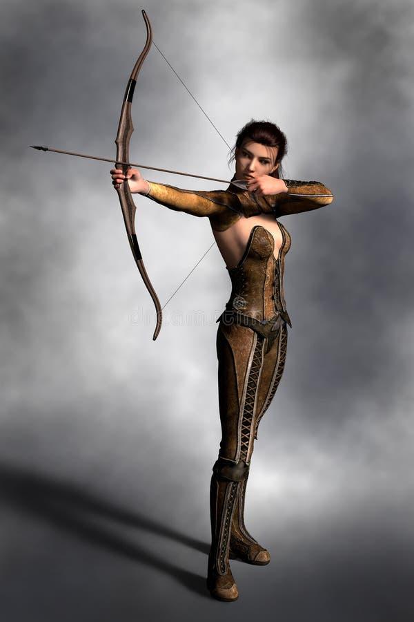 Archer féminin de belle brune tenant le tir à l'arc dans le shooti illustration de vecteur