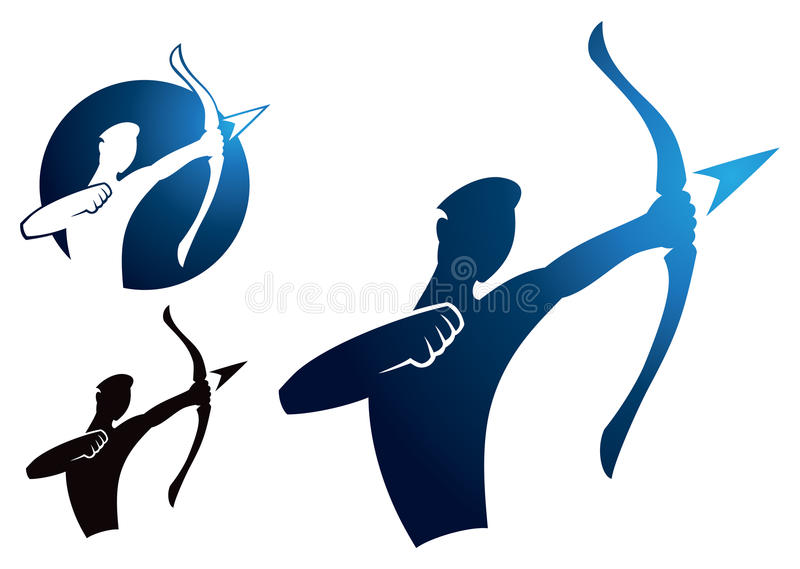 Archer Logo. A logo icon of an archer drawing with bow and arrow