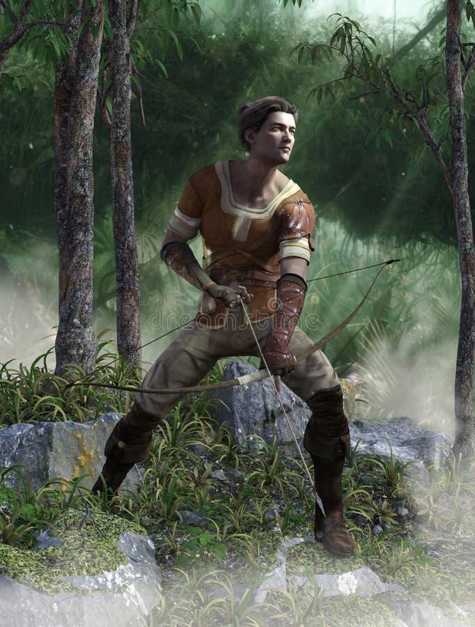 Archer-Mann mit Pfeil und Bogen im Wald lizenzfreie abbildung