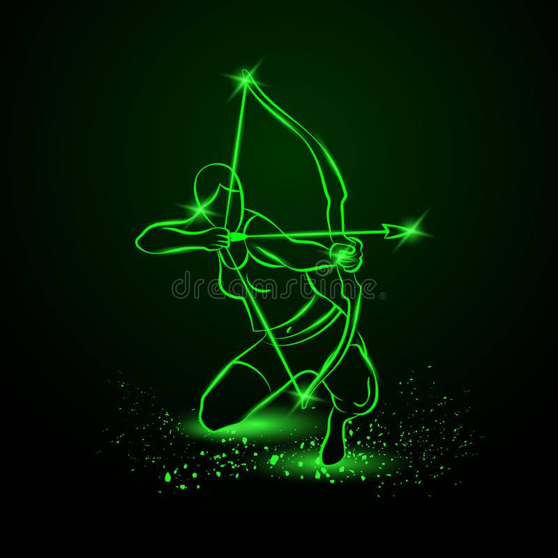 Archer mit Bogen Neonvektorillustration stock abbildung