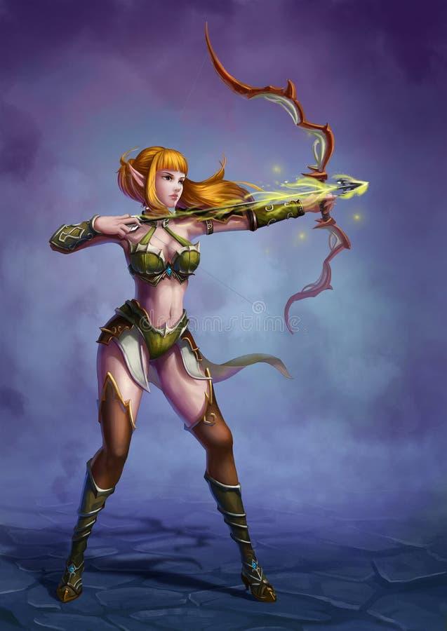 Archer nel mondo di fantasia medievale illustrazione di stock