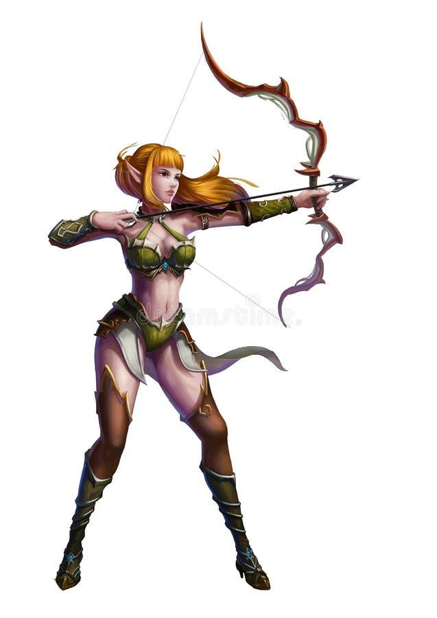Archer nel mondo di fantasia medievale isolato nel fondo bianco illustrazione di stock